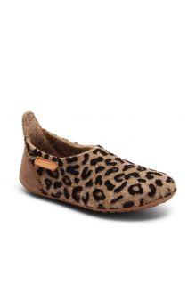 Bisgaard---Pantoffeln-für-Babys---Basic-wool---Braun-Leopard