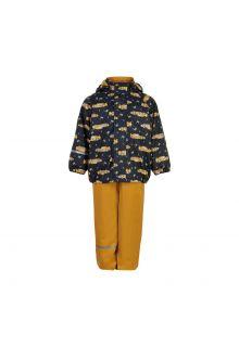 CeLaVi---Regenset-mit-Fleece-für-Kinder---Rennwagen---Mineralgelb