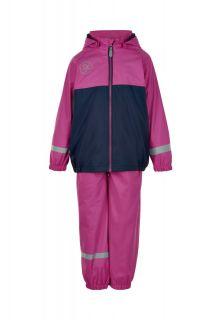 Color-Kids---Regenanzug-mit-Fleece-für-Mädchen---Colorblock---Rosa-Violett