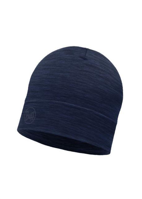 Buff---Leichte-Mütze-Solid-aus-Merinowolle-für-Erwachsene---Denimblau