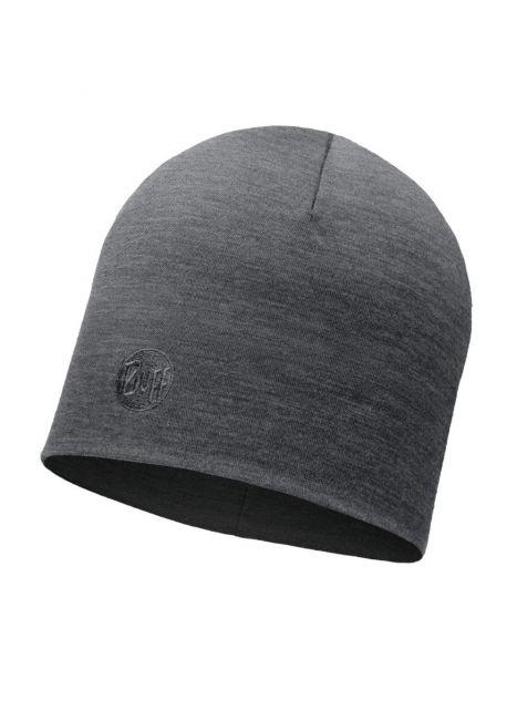 Buff---Warme-Merino-Mütze-Solid-für-Erwachsene---Regular-fit---Grau