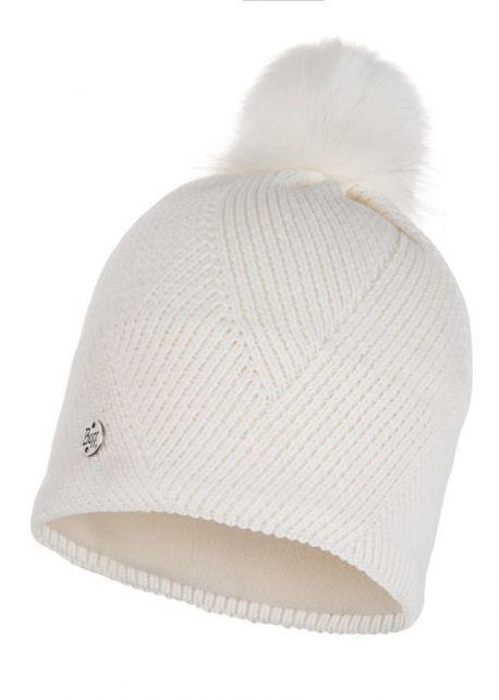 Buff---Pompom-Strickmütze-Polar-Disa-für-Erwachsene---Weiß