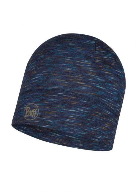 Buff---Leichte-Merino-Mütze-Stripes-für-Erwachsene---Denimblau/Multi