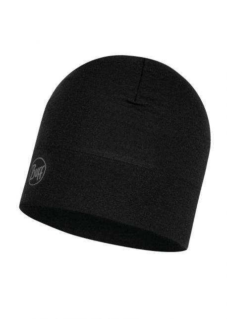 Buff---Mütze-Solid-aus-Merinowolle-für-Erwachsene---Schwarz