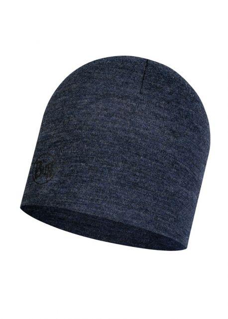 Buff---Mütze-Melange-aus-Merinowolle-für-Erwachsene---Nachtblau