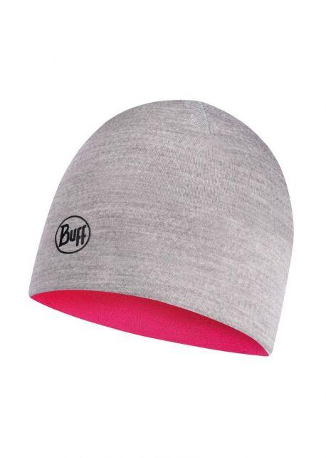 Buff---Umkehrbare-leichte-Merino-Mütze-für-Kinder--Rosa/Hellgrau
