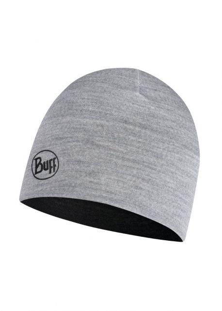 Buff---Umkehrbare-leichte-Merino-Mütze-für-Kinder---Schwarz/Grau