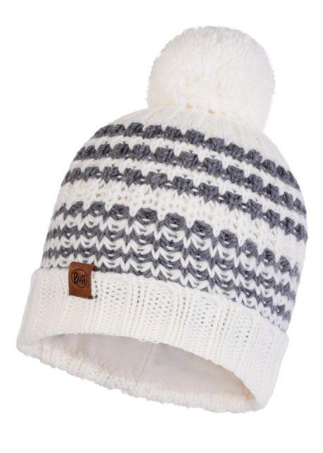 Buff---Pompom-Strickmütze-Polar-Kostik-für-Erwachsene---Weiß/Grau