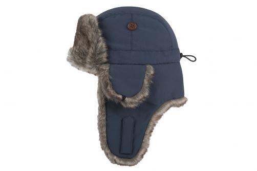 Hatland---Bombermütze-mit-Kunstfell-für-Erwachsene---Wilbar---Blau