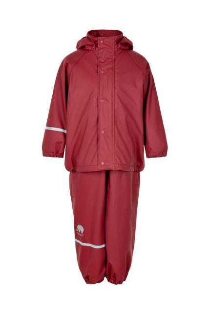 CeLaVi---Regenbekleidungsset-mit-Fleece-für-Kinder---Lätzchen-oder-elastischer-Bund---Dunkelrot