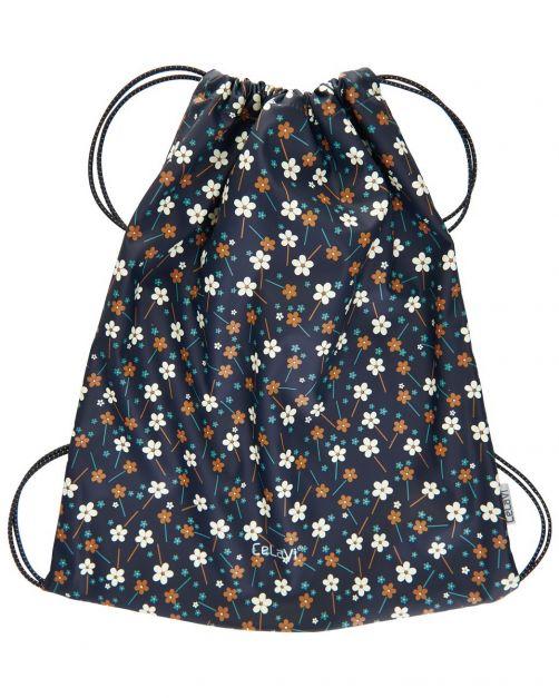 CeLaVi---Wasserbeständige-Tasche-mit-Kordelzug---Blumen---Dunkelblau-