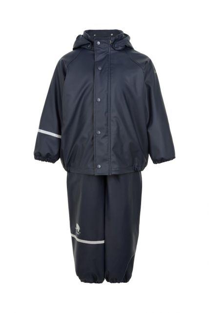 CeLaVi---Regenbekleidungsset-mit-Fleece-für-Kinder---Lätzchen-oder-elastischer-Bund---Dunkelblau