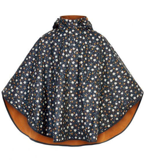 CeLaVi---Regenponcho-mit-Fleece-für-Mädchen---Blumen---Dunkelblau
