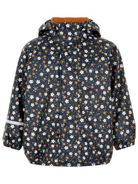 CeLaVi---Regenjacke-mit-Fleece-für-Mädchen---Blumen---Dunkelblau