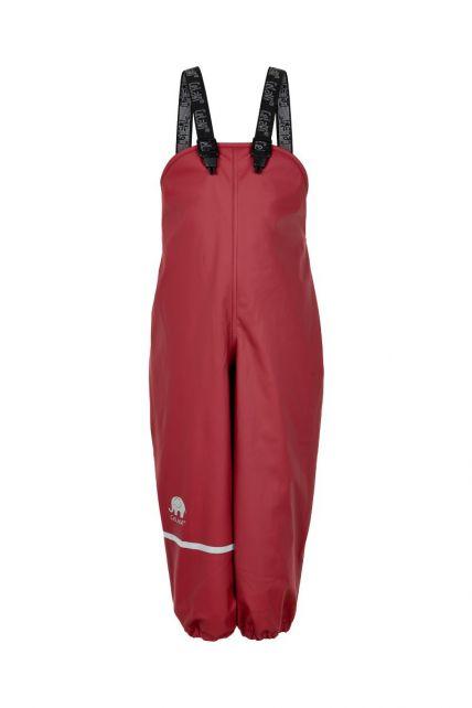 CeLaVi---Regenhose-mit-Fleece-für-Kinder---Lätzchen-oder-elastischer-Bund---Dunkelrot