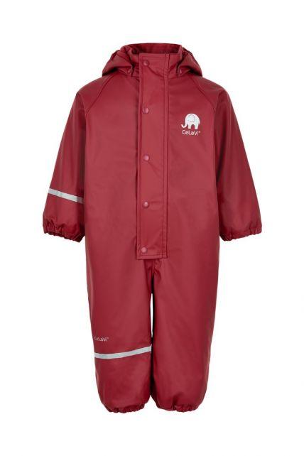 CeLaVi---Regenanzug-mit-Fleece-für-Kinder---Solid---Dunkelrot