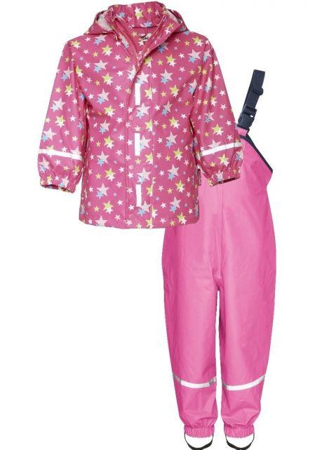Playshoes---Regenanzug-Sterne--Pink