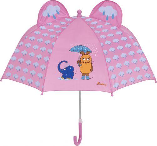 Playshoes---Regenschirm-3D-für-Kinder---Maus-&-Elefant---Rosa
