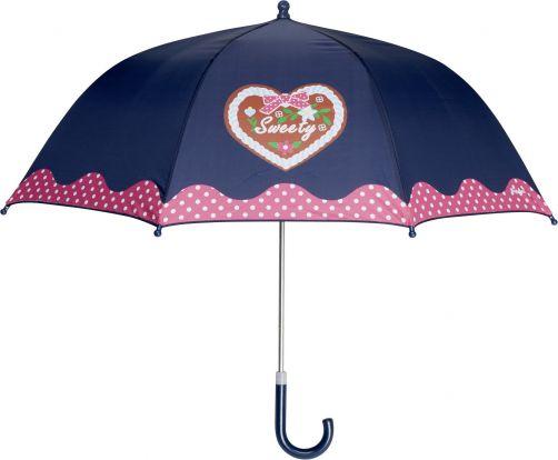 Playshoes---Kinder-Regenschirm-mit-Herz-&-gepunktet---Dunkelblau