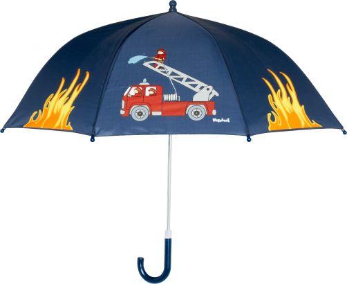 Playshoes---Kinder-Regenschirm-mit-Feuerwehrauto---Dunkelblau