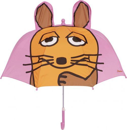 Playshoes---Regenschirm-3D-für-Kinder---Maus---Rosa