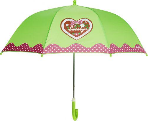 Playshoes---Kinder-Regenschirm-mit-Herz-&-gepunktet---Grün