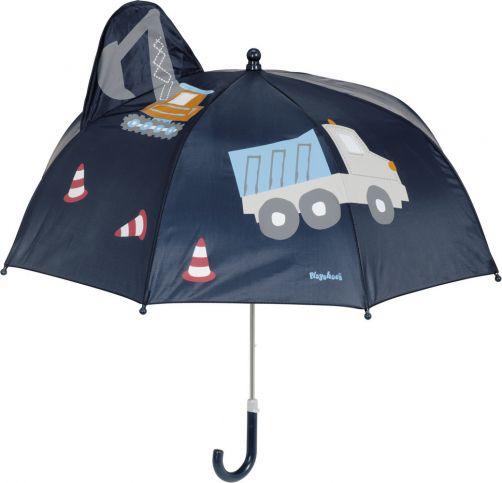 Playshoes---Regenschirm-3D-für-Kinder---Baustelle---Dunkelblauw