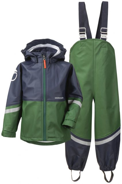 Didriksons---Regenanzug-für-Kinder---Waterman---Grün/Dunkelblau