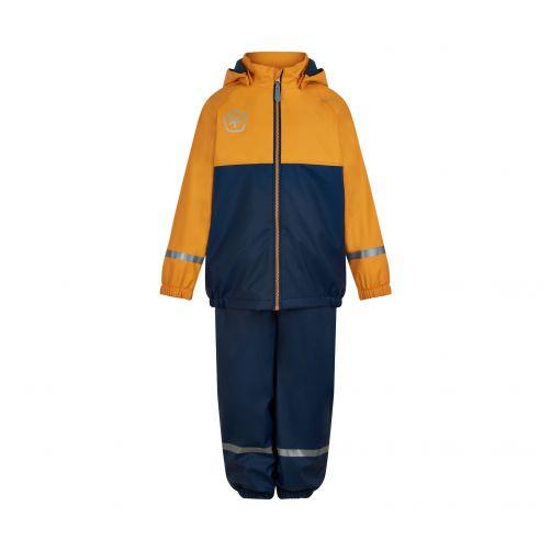 Color-Kids---Regenanzug-Set-mit-Fleece-Futter-für-Kinder---Orange-gelb