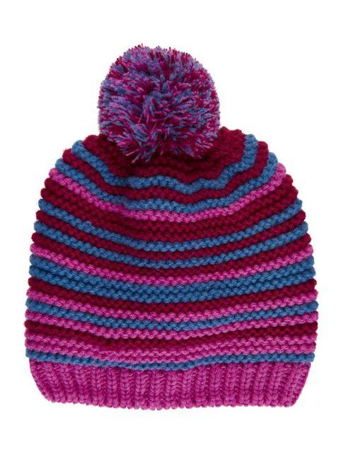 Color-Kids---Mütze-mit-Fleece-für-Mädchen---Streifen---Rosa-Violett