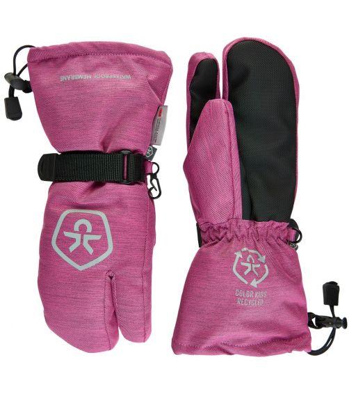 Color-Kids---Wasserdichte-Skihandschuhe-für-Mädchen--Twill---Rosa-Violett