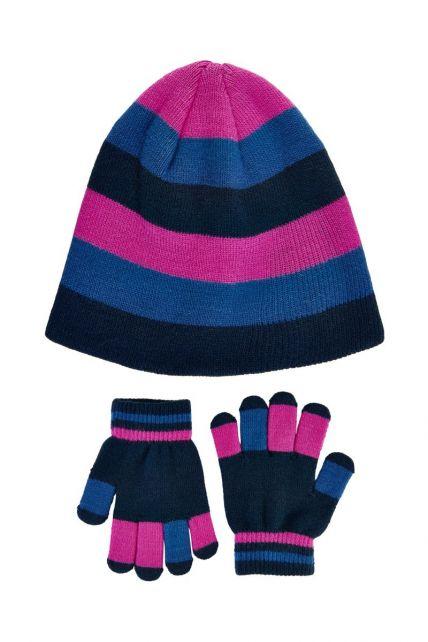 Color-Kids---Beanie--und-Handschuhset-für-Mädchen---Rosa-Violett