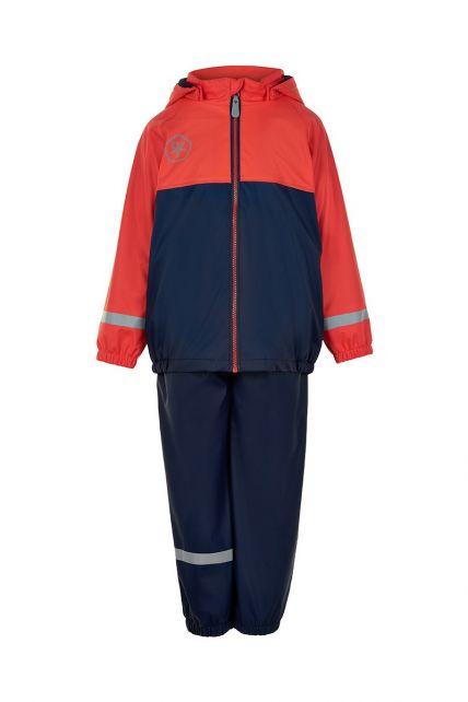 Color-Kids---Regenanzug-mit-Fleece-für-Kinder---Colorblock---Rot