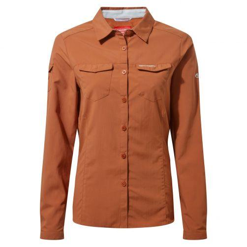Craghoppers---UV-Bluse-für-Damen---Langarmshirt---Adventure-II---Orangebraun