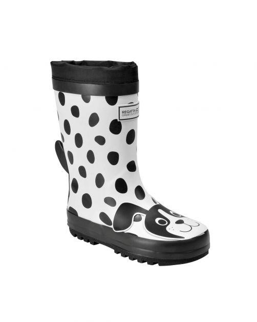 Regatta---Regenstiefel-für-Kinder---Mudplay---Weiß/Schwarzer-Hund