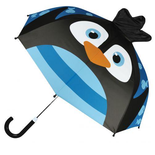 Stephen-Joseph---Pop-up-Regenschirm-für-Kinder---Pinguin---Blau