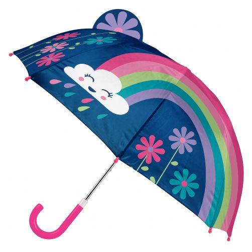 Stephen-Joseph---Pop-up-Regenschirm-für-Mädchen---Regenbogen---Dunkelblau