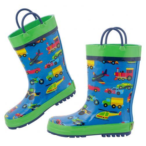 Stephen-Joseph---Regenstiefel-für-Jungen---Fahrzeuge---Blau/Grün