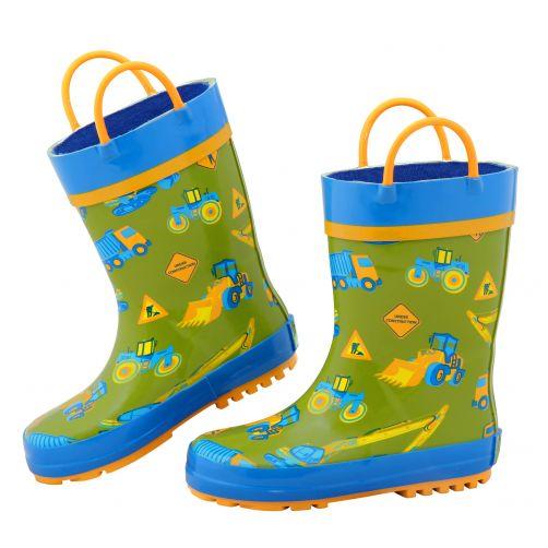 Stephen-Joseph---Regenstiefel-für-Jungen---Konstruktion---Grün/Blau