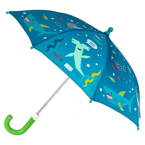 Stephen-Joseph---Farbwechselnder-Regenschirm-für-Jungen---Hai---Dunkelblau