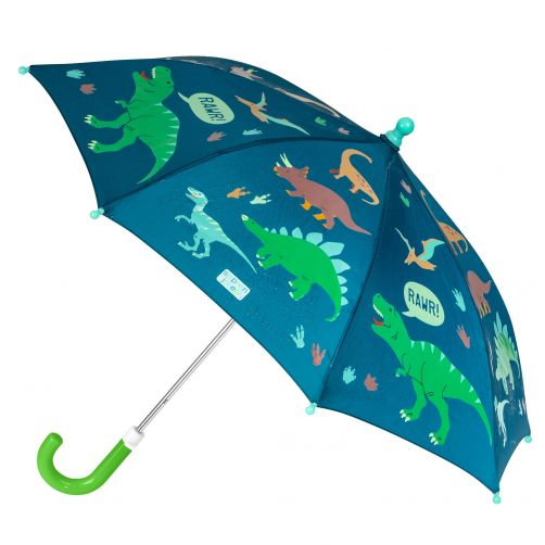 Stephen-Joseph---Farbwechselnder-Regenschirm-für-Jungen---Dino---Dunkelblau