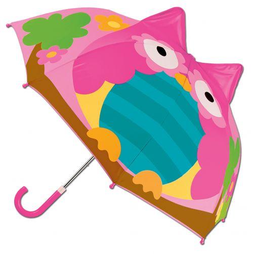 Stephen-Joseph---Pop-up-Regenschirm-für-Mädchen---Eule---Pink