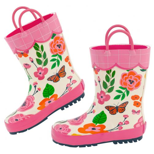 Stephen-Joseph---Regenstiefel-für-Mädchen---Schmetterling---Naturweiß/Pink