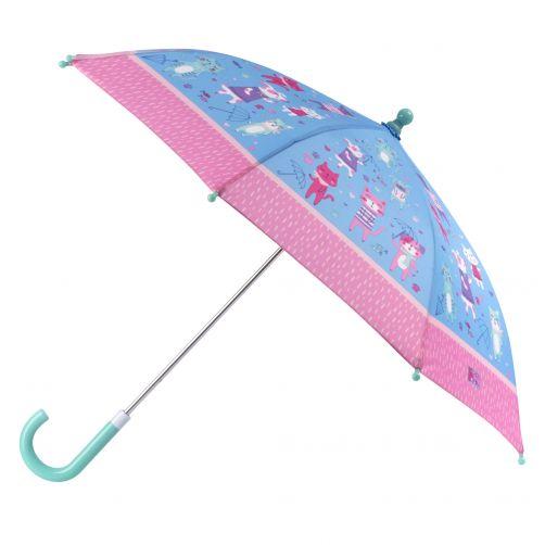 Stephen-Joseph---Regenschirm-für-Mädchen---Katzen-&-Hunde---Hellblau/Rosa