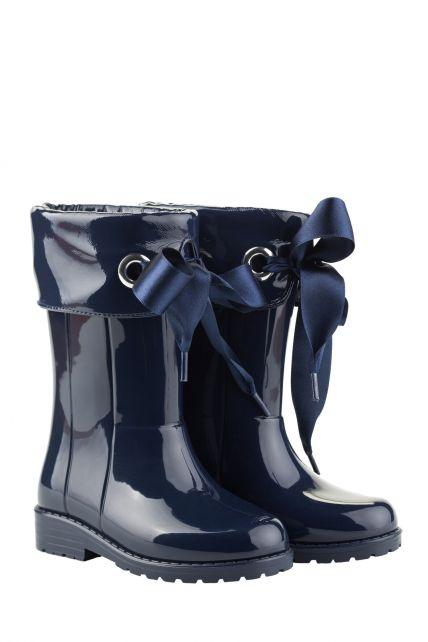 Igor---Regenstiefel-für-Mädchen---Campera-Charol-Hochglanz-mit-Schliefe---Dunkelblau