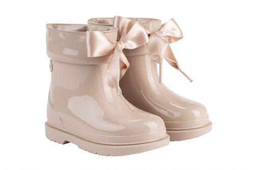 Igor---Regenstiefel-für-Mädchen---Bimbi-Lazo-Hochglanz-mit-Schleife---Beige