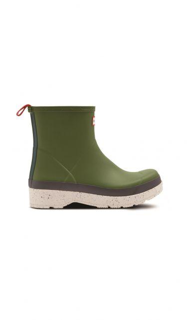 Hunter---Regenstiefel-für-Herren---Play-Speckle-Sole---Kurz---Moosgrün/Weiß